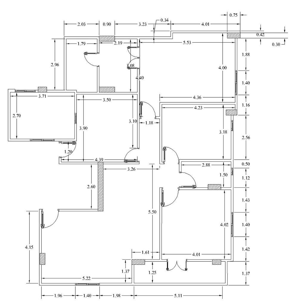 رسم مخطط منزل - الأبعاد