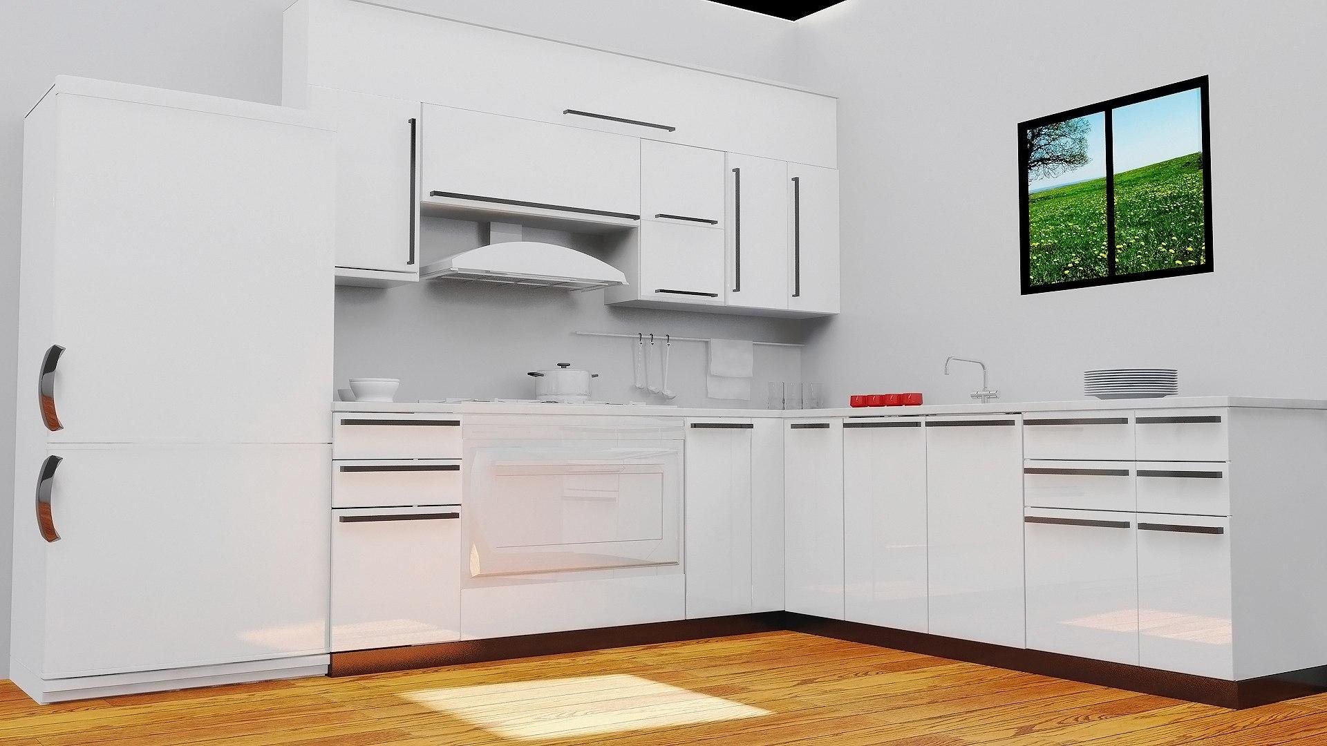 مطبخ ابيض بسيط