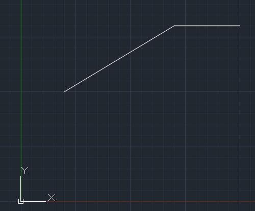 تعليم الاوتوكاد - شكل يوضح شكل الخط بعد مواصلة الرسم.