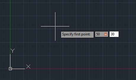 تعليم الاوتوكاد - شكل يوضح كيفية رسم الإحداثيات من خلال إدخال القيم.