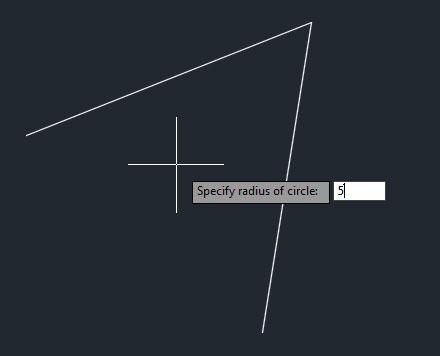تعليم الاوتوكاد - شكل تحديد نصف القطر المناسب بين الضلعين.
