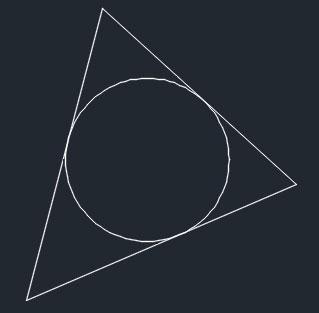 تعليم الاوتوكاد - شكل الدائرة المماسية الداخلية لثلاثة أضلاع.