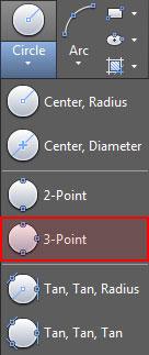 تعليم الاوتوكاد - قائمة خيارات رسم الدائرة وتحديد خيار رسم الدائرة بمعلومية ثلاث نقاط.