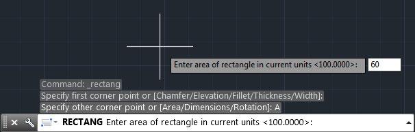 تعليم الاوتوكاد - كتابة قيمة مساحة المربع بشريط Command.