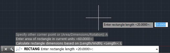 تعليم الاوتوكاد - كتابة القيمة الطولية لمربع المساحة.