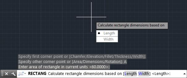 تعليم الاوتوكاد - اختيار القيمة الطولية أو العرضية لمربع المساحة.