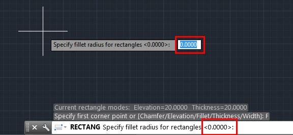 تعليم الاوتوكاد - تحديد نصف قطر منحنى المربع.