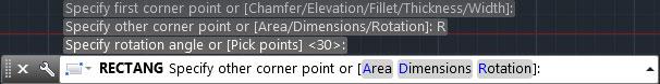 تعليم الاوتوكاد - خيارات المربع بعد إدخال قيمة زاوية الدوران.