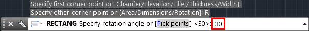 تعليم الاوتوكاد - مكان إدخال قيمة زاوية دواران قاعدة للمربع بطريقة رسم من نوع Rotation .