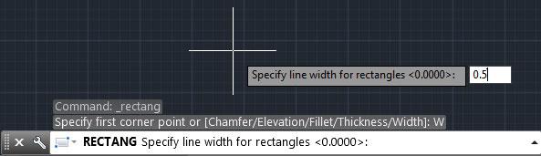 تعليم الاوتوكاد - تحديد قيمة عرض حواف المربع.