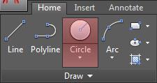 تعليم الاوتوكاد - مكان زر أداة رسم الدائرة Circle بتبويب Home