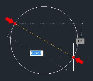 تعليم الاوتوكاد - رسم دائرة بمعلومية نقطتين.