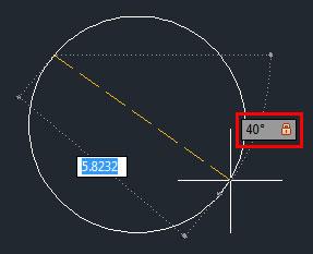 تعليم الاوتوكاد - علامة قفل الزاوية بعد الضغط على زر Tab وإدخال قيمة الزاوية.