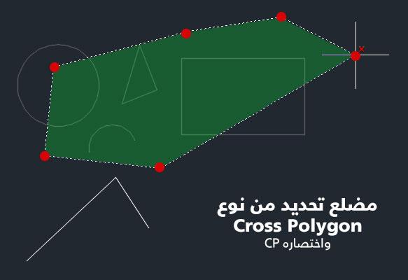تعليم الاوتوكاد - شكل يوضح مضلع التحديد Cross وتحديد نقاطه.