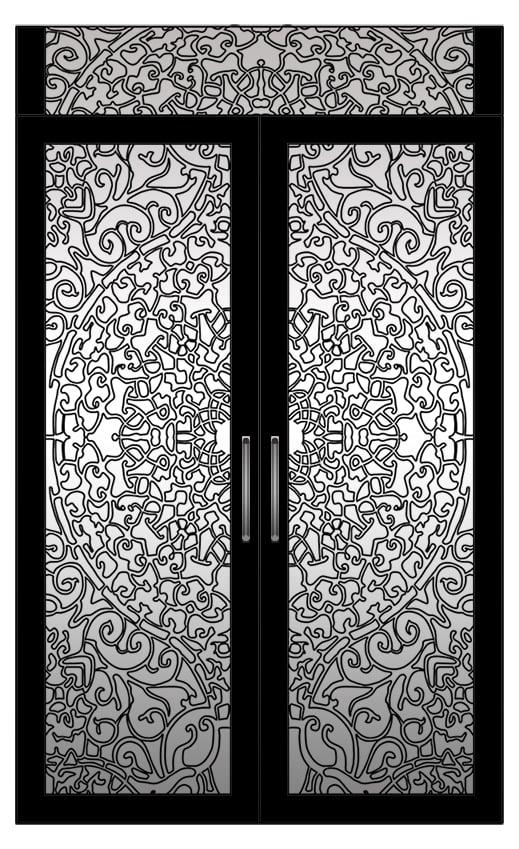 باب ملكى عالى التفاصيل تم رسم الزخارف كاملة على الأوتوكاد