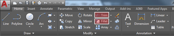 Fillet-Trim-AutoCAD