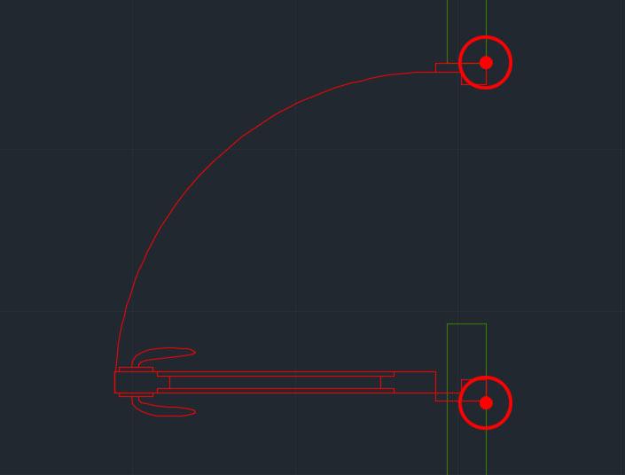 6. الضغط بعد ذلك على نقطة نهاية شكل الباب